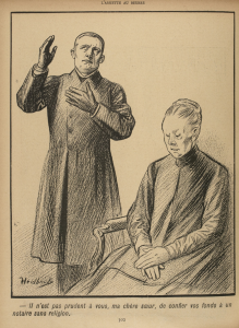 It is not wise of you, my dear sister, to confide your money in an irreligious solicitor. Caricature by Heidbrinck appearing in L'Assiette au beurre, 16 November 1901. http://gallica.bnf.fr/ark:/12148/bpt6k1047870v/f2.item