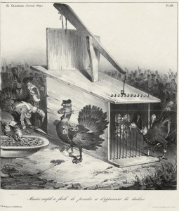 """A caricature by C. J. Traviès subtitled """"A simple and easy way to catch and tame turkeys"""". Published in La Caricature, no. 91, 2nd August 1832"""