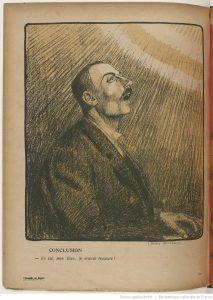 Pencil drawing, Bellery Desfontaines, L'Assiette au beurre, no. 180. 10/09/1904, source: http://gallica.bnf.fr/ark:/12148/bpt6k10480727.